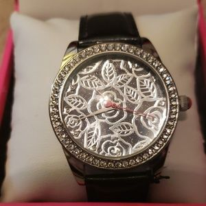 Betsey Johnson metal work roses black strap watch